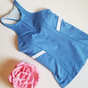 ZELLA SKY BLUE RACERBACK TANK WITH SUPPORT CUPS
